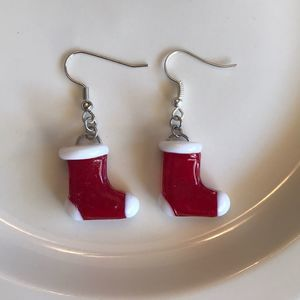 Christmas Earrings red glass blown stockings